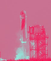 VAN HORN, TEXAS - JULY 20:  Blue Origin's New Shepard lifts-off from the launch pad carrying Jeff Be...