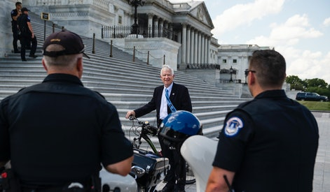 UNITED STATES - JUNE 30: Rep. Mo Brooks, R-Ala., talks with U.S. Capitol Police before a House vote on creating a select committee to investigate the January 6th attack on the Capitol on Wednesday, June 30, 2021. (Photo By Tom Williams/CQ-Roll Call, Inc via Getty Images)