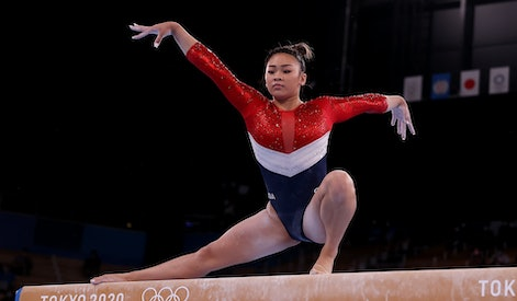TOKYO, JAPAN - JULY 27: Sunisa Lee of Team United States competes in balance beam during the Women's...
