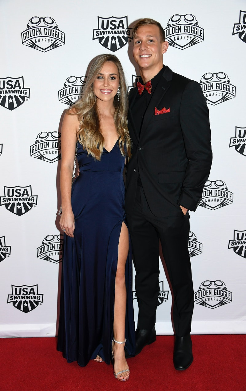 Everything to know about Olympic swimmer Caeleb Dressel and hist wife, Meghan.  (Photo by Kevork Dja...