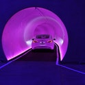 LAS VEGAS, NEVADA - APRIL 09:  A Tesla car drives through a tunnel in the Central Station during a m...