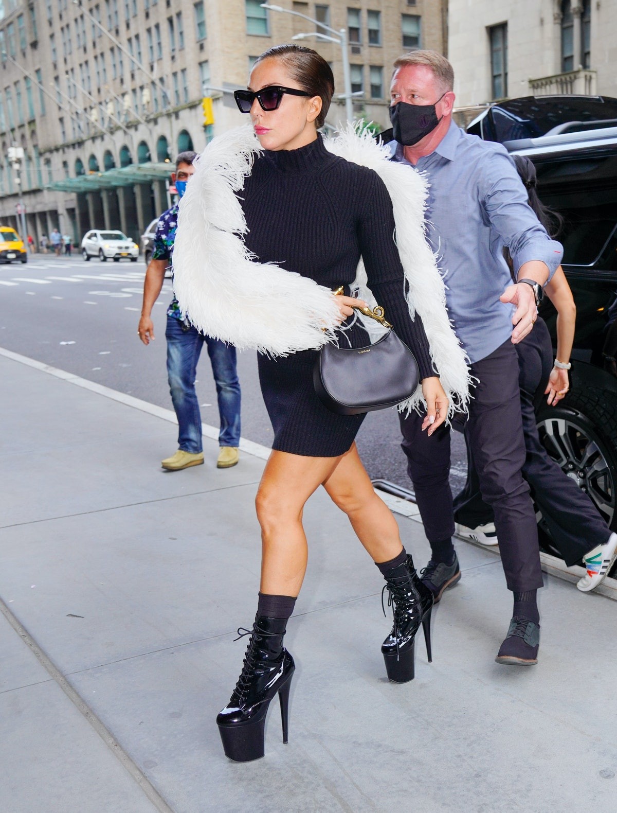 NEW YORK, NEW YORK - JULY 27: Lady Gaga out and about on July 27, 2021 in New York City. (Photo by G...