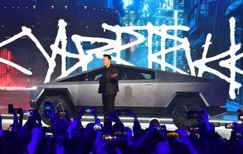 Tesla co-founder and CEO Elon Musk unveils the all-electric battery-powered Tesla's Cybertruck at Te...