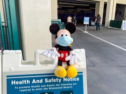 ANAHEIM, CA - APRIL 11: General views of a Mickey Mouse doll at the Disneyland Resort setup by staff...