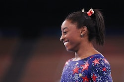 TOKYO, JAPAN - JULY 25: Simone Biles of Team United States reacts during Women's Qualification on da...