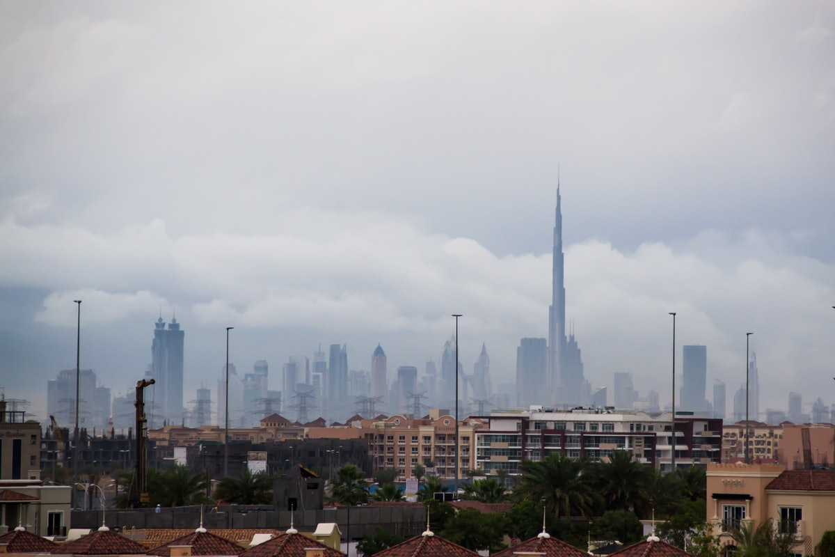 Burj Khalifa surrounded with cloudy sky