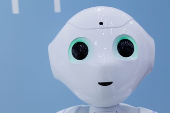 OMOTESANDO, JAPAN - 2014/08/01: A portrait of Softbank's emotional consumer Robot, Pepper on display...