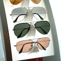 Ray Ban sunglasses on diplay at Products on display at the Chrysler Lodge during the Chrysler Millio...