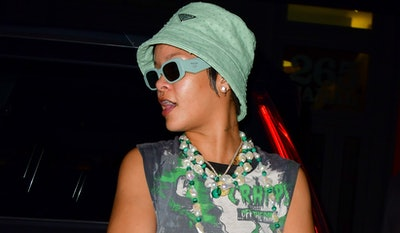 NEW YORK, NEW YORK - JULY 08:  Rihanna is seen on the streets of Manhattan on July 07, 2021 in New Y...