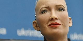 A humanoid robot named Sofia, developed by Hong Kong company Hanson Robotics reacts during press con...