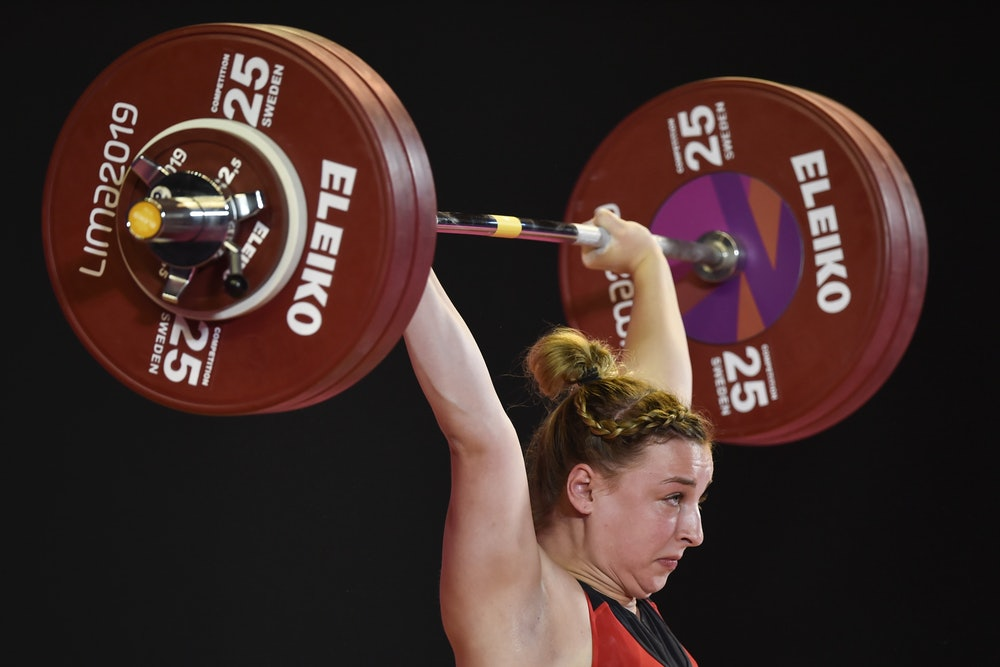 US Katherine Nye competes in the Women's 76 kg of the Weightlifting event during the Pan-American Ga...