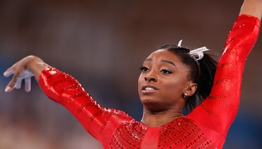 Simone Biles of the United States is seen after the vault of the artistic gymnastics women's team fi...