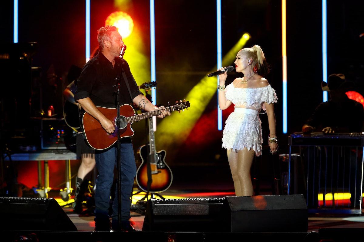 NASHVILLE, TENNESSEE - JULY 27: Blake Shelton and Gwen Stefani perform during the CMA Summer Jam at ...