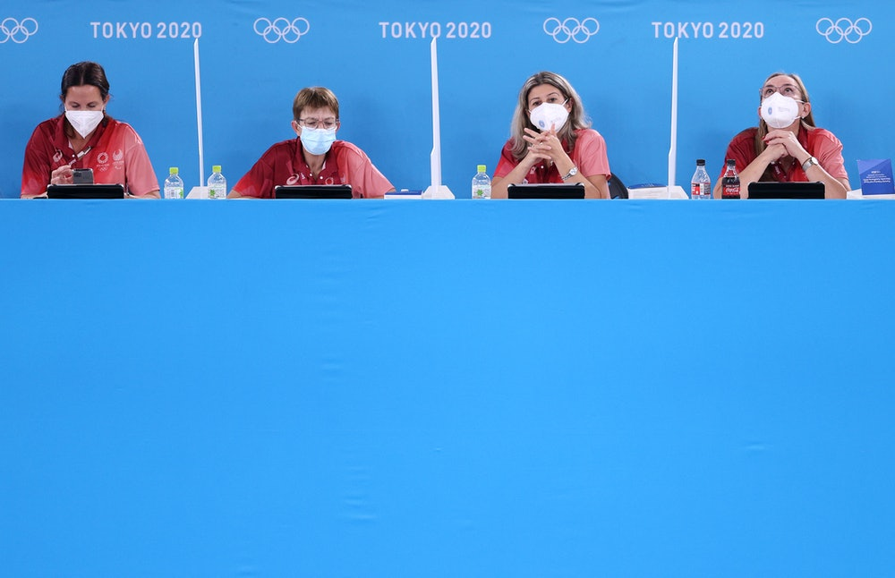 TOKYO, JAPAN - JULY 22: Judges wearing masks look on during Women's Podium Training ahead of the Tok...