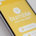 The Bumble app is seen on an iPhone on 16 March, 2017. The app is resembles Tindr in that it let's h...
