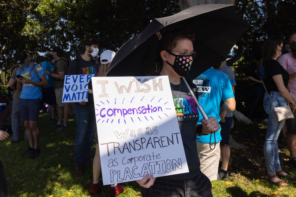 Employees of the video game company, Activision Blizzard, hold a walkout and protest rally to denoun...