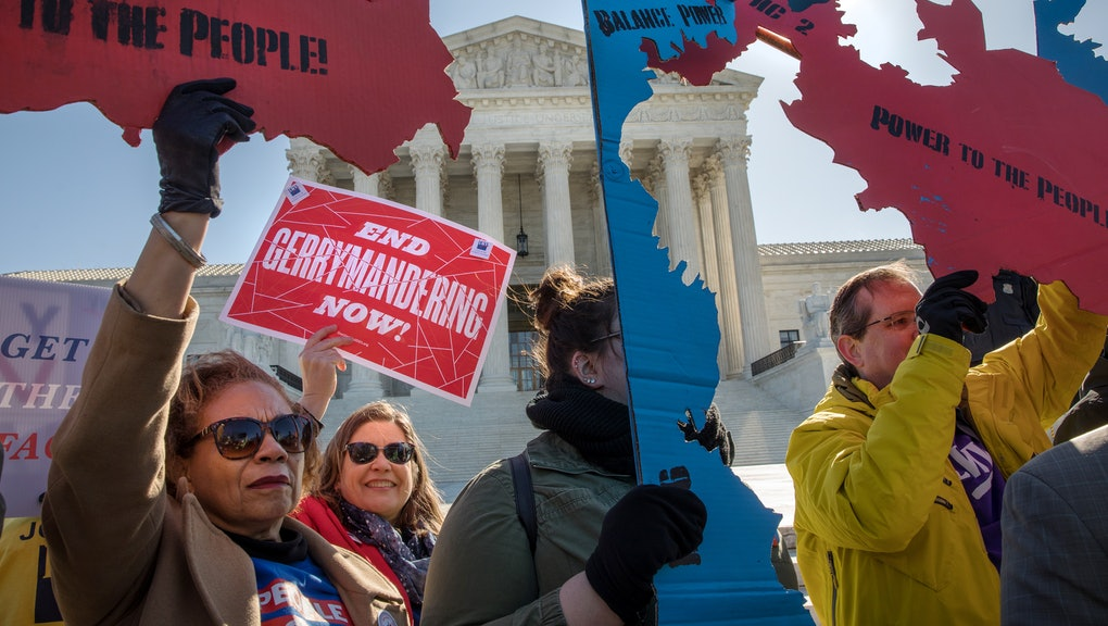 WASHINGTON,DC-MAR26: Demonstrators protest against gerrymandering at a rally at the Supreme Court du...