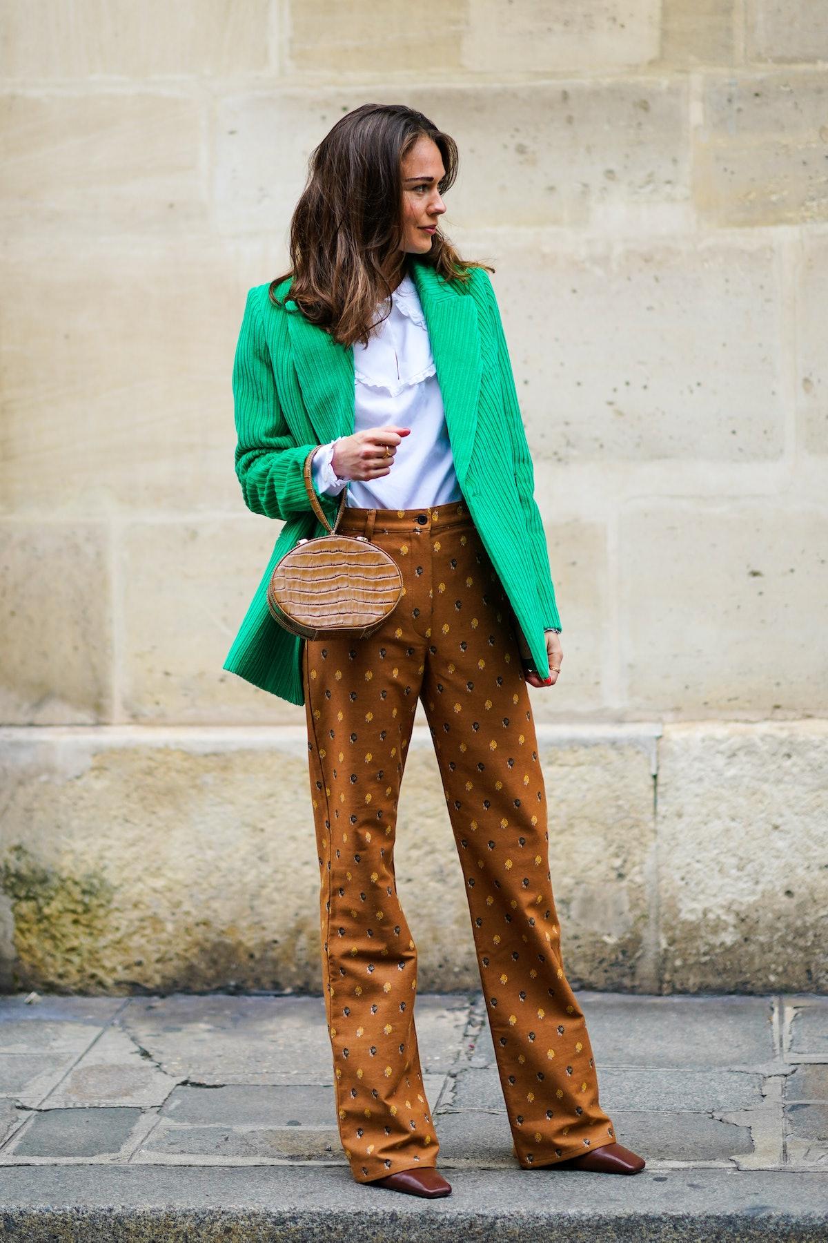 Therese Hellström wears printed pants