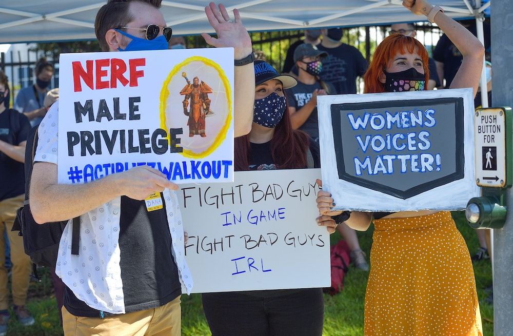 Blizzard Entertainment employees and supporters protest for better working conditions in Irvine, CA,...