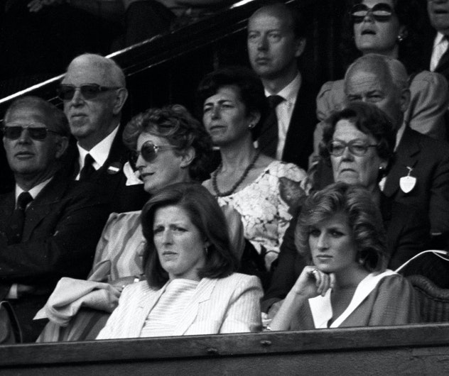 Princess Diana watches tennis with her sister Lady Jane Fellowes.
