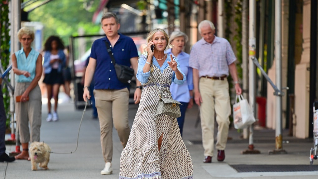 """NEW YORK, NEW YORK - JULY 27: Sarah Jessica Parker seen on the set of """"And Just Like That..."""" the fo..."""