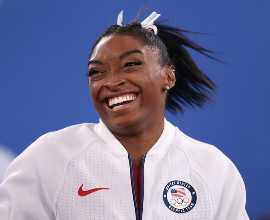 TOKYO, JAPAN - JULY 27: Simone Biles of Team United States reacts during the Women's Team Final on d...