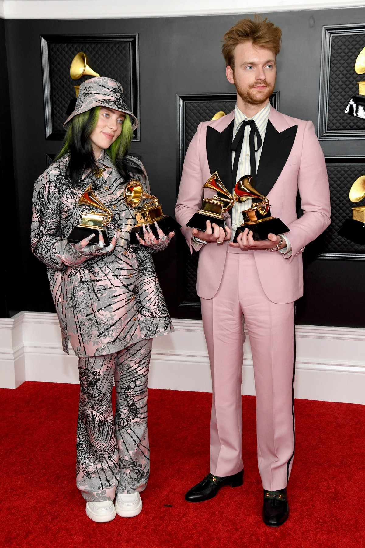 LOS ANGELES, CALIFORNIA - MARCH 14: (L-R) Billie Eilish and FINNEAS, winners of Record of the Year f...