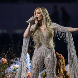 INGLEWOOD, CA - MAY 02:   Jennifer Lopez performs at the Vax Live concert at SoFi Stadium on Sunday, May 2, 2021 in Inglewood, CA. (Jason Armond / Los Angeles Times via Getty Images)