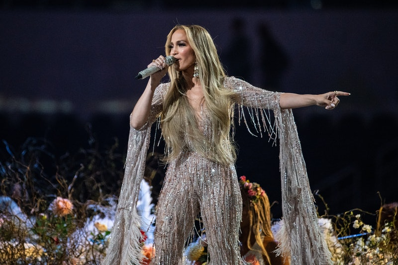 INGLEWOOD, CA - MAY 02:   Jennifer Lopez performs at the Vax Live concert at SoFi Stadium on Sunday,...