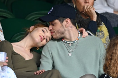LONDON, ENGLAND - JULY 03: Phoebe Dynevor and Pete Davidson hosted by Lanson attend day 6 of the Wimbledon Tennis Championships at the All England Lawn Tennis and Croquet Club on July 03, 2021 in London, England. (Photo by Karwai Tang/WireImage)