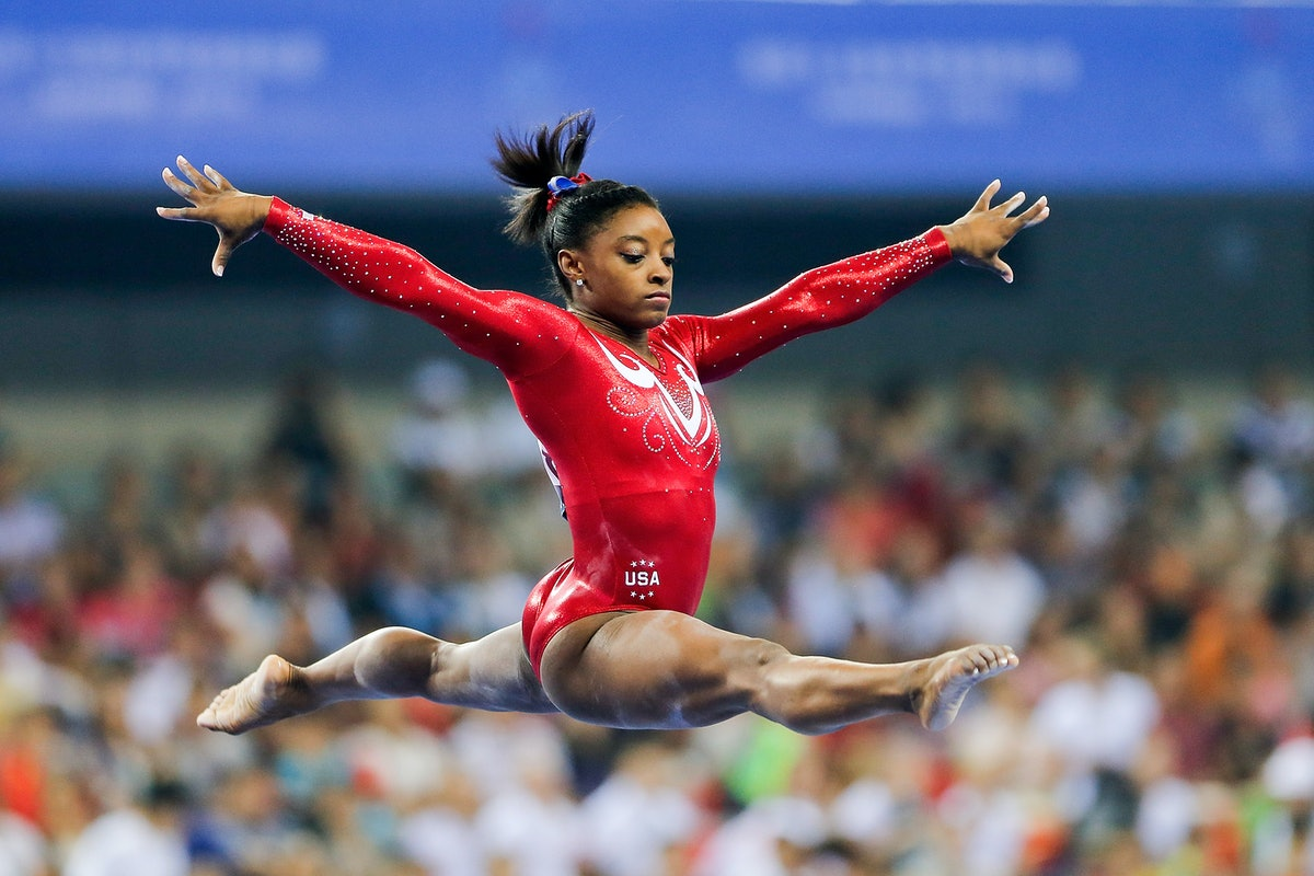 NANNING, CHINA - OCTOBER 08:  Simone Biles of the United States performs on the Balance Beam during ...