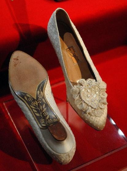 Princess Diana's wedding slippers on display