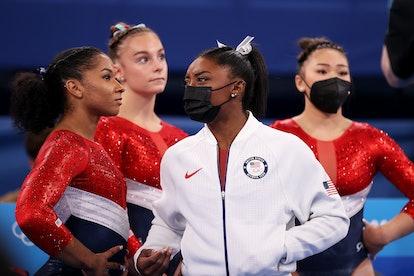Jordan Chiles, Grace McCallum, Simone Biles and Sunisa Lee wearing their Team USA ensembles at the T...