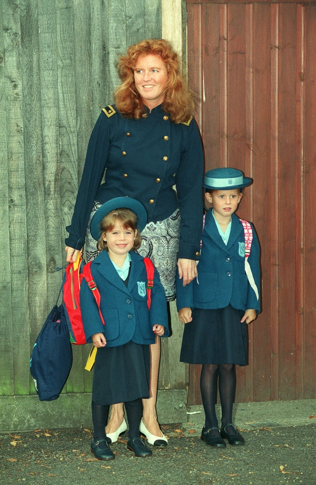 Princess Eugenie looks pretty happy on her first day of school.