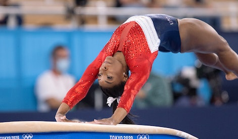 TOKYO, JAPAN - JULY 27: Simone Biles of United States of America competing on Women's Team Final dur...