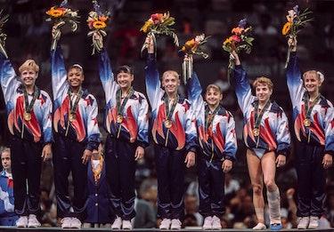 ATLANTA - JULY 23:   The United States Women's Gymnastics Team (L-R) of Amanda Borden, Dominique Daw...