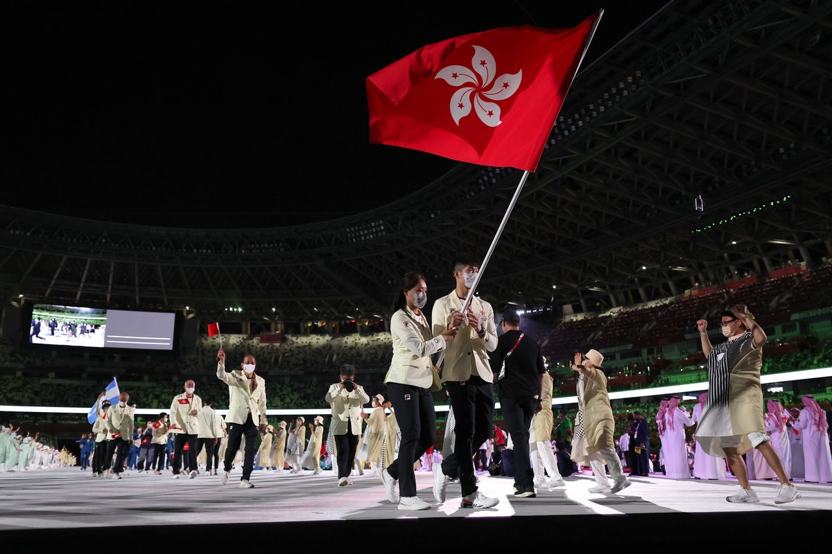 Olympic delegation of Hong Kong, China parade into the Olympic Stadium during the opening ceremony o...