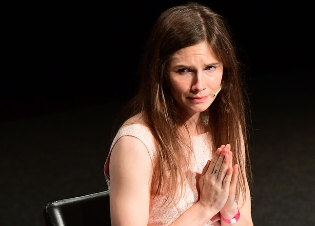 """US journalist Amanda Knox reacts after she addressed a panel discussion titled """"Trial by Media"""" duri..."""