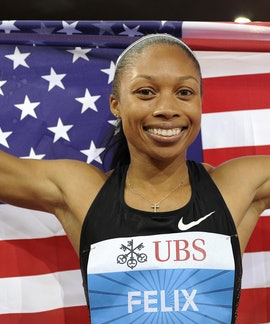 Allyson Felix of the US celebrates after winning the women's 400m race at the Diamond League Weltkla...