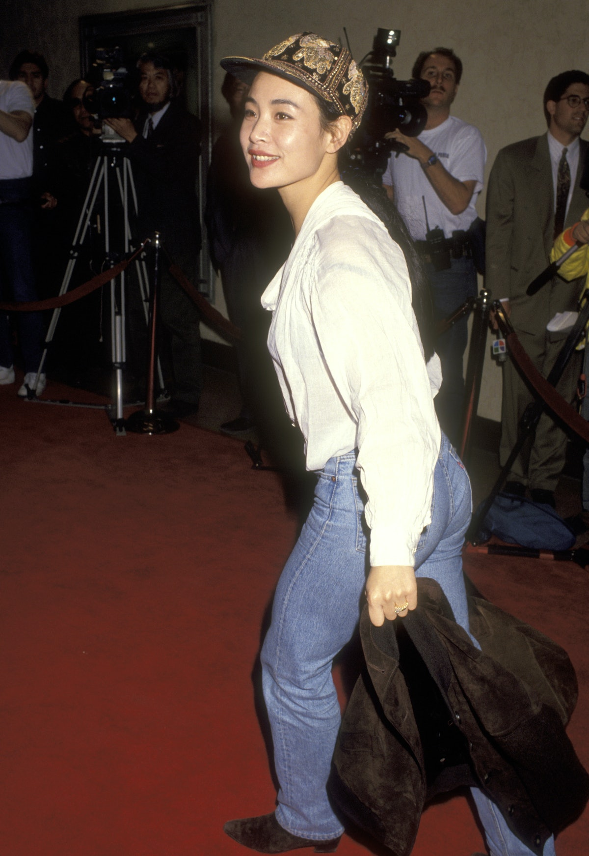 Actress Joan Chen wearing jeans