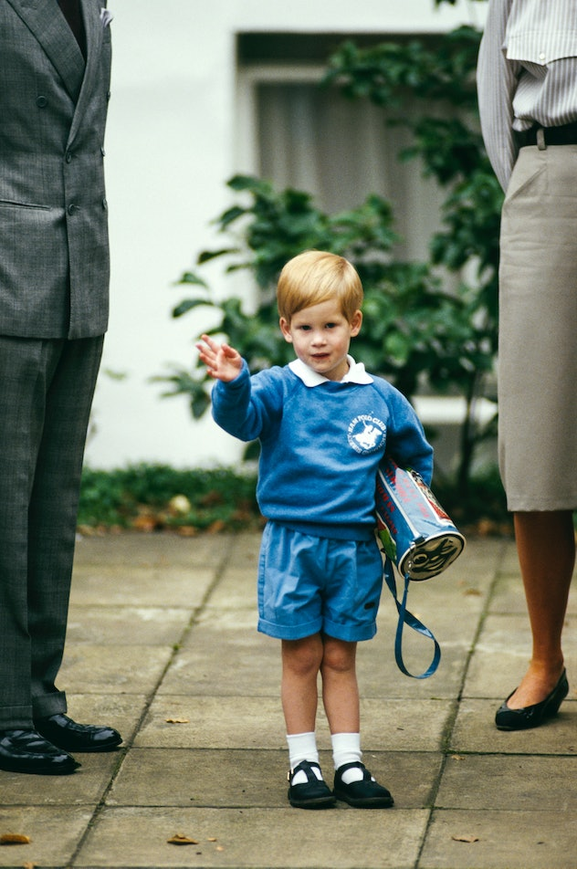 Prince Harry heads off to school in 1987.
