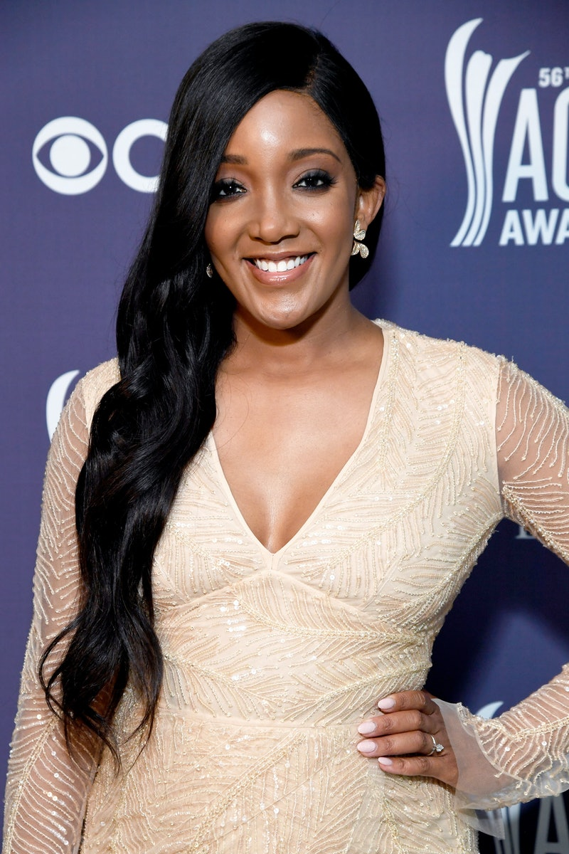 NASHVILLE, TENNESSEE - APRIL 18: In this image released on April 18, Mickey Guyton attends the 56th Academy of Country Music Awards at the Grand Ole Opry on April 18, 2021 in Nashville, Tennessee. (Photo by Kevin Mazur/ACMA2021/Getty Images for ACM)