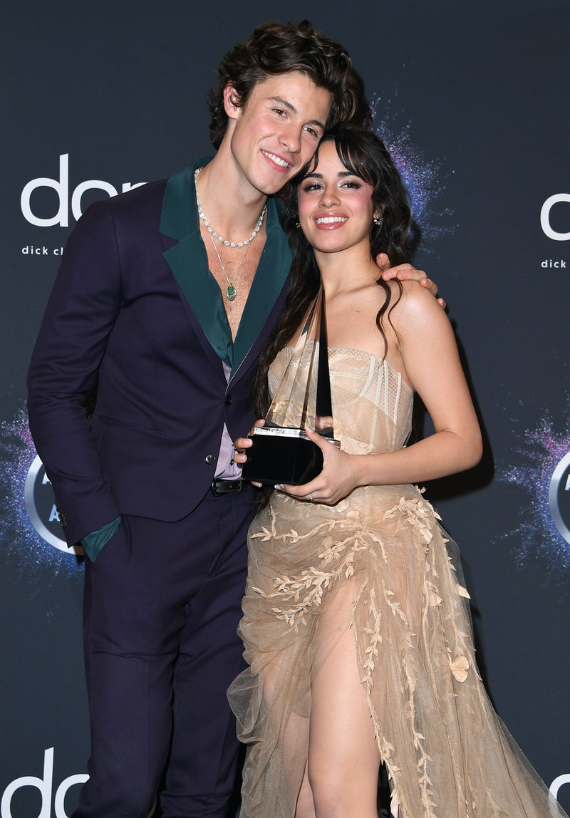 LOS ANGELES, CALIFORNIA - NOVEMBER 24: Shawn Mendes and Camila Cabello pose at the 2019 American Music Awards at Microsoft Theater on November 24, 2019 in Los Angeles, California. (Photo by Steve Granitz/WireImage)