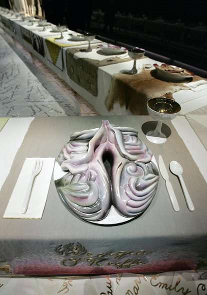 """New York, UNITED STATES: Detail of """"The Dinner Party"""" (1979) by American artist Judy Chicago, is sho..."""