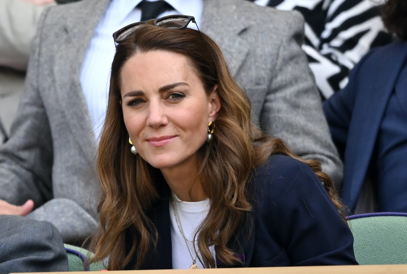 LONDON, ENGLAND - JULY 02: Catherine, Duchess of Cambridge attends the Wimbledon Tennis Championships at the All England Lawn Tennis and Croquet Club on July 02, 2021 in London, England. (Photo by Karwai Tang/WireImage)