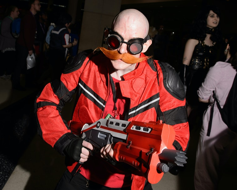 """CHICAGO, ILLINOIS - FEBRUARY 29: A cosplayer dressed as Dr. Robotnik from """"Sonic the Hedgehog"""" atten..."""