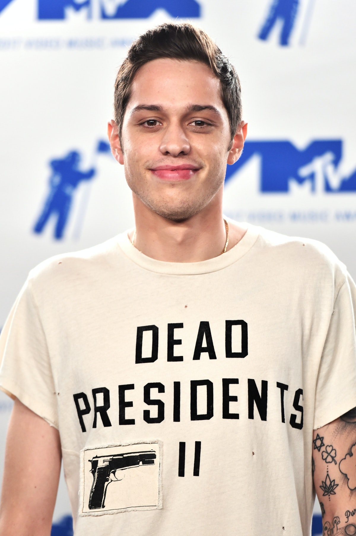 INGLEWOOD, CA - AUGUST 27: Pete Davidson poses in the press room during the 2017 MTV Video Music Awa...