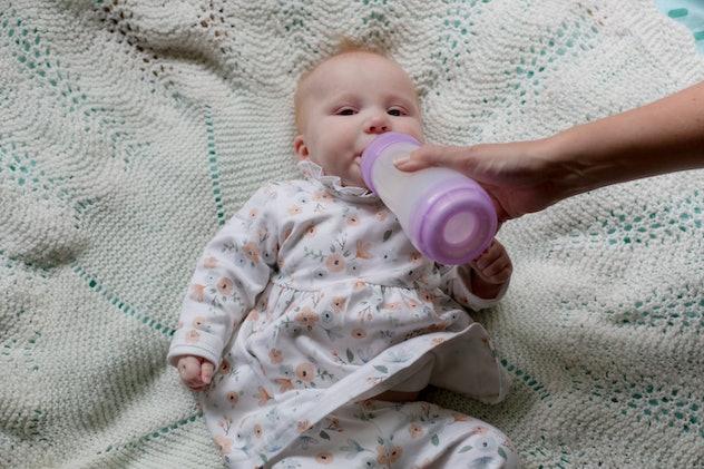 baby human age, baby bottle, baby girl, mother