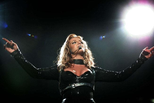 US singer Britney Spears performs in Rotterdam, 07 May 2004 during her sole concert in Holland for her 'The Onyx Hotel Tour.' Spears' 2004 European tour includes a series of concerts across Europe between 30 April and 05 June 2004.   AFP/CONTINENTAL (Photo by - / ANP / AFP) (Photo by -/ANP/AFP via Getty Images)