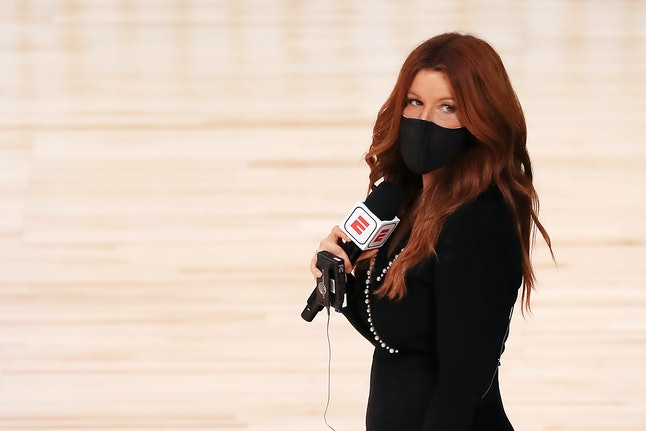 LAKE BUENA VISTA, FLORIDA - JULY 31: ESPN reporter Rachel Nichols stands on the court before a game ...